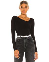 Enza Costa Brushed Supima Cotton Asymmetrical Neck Long Sleeve Top - Black