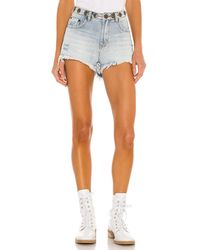 One Teaspoon Studded Bonita High Waist Denim Short - Blue