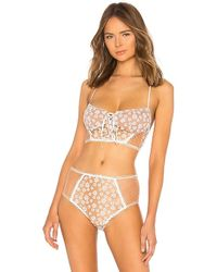 For Love & Lemons - Ditzy Daisy Embroidery Lace Up Bustier - Lyst