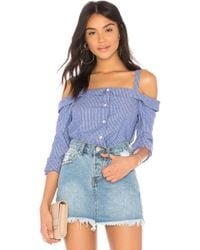 BCBGeneration - Off Shoulder Shirt In Blue - Lyst