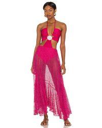 PATBO Cut Out Seashell Beach Dress - Pink