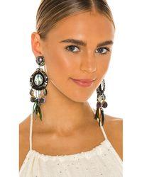 Ranjana Khan Feather Earrings - Green