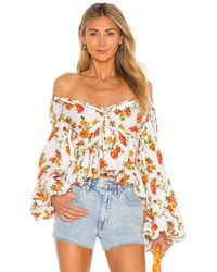 Caroline Constas Блузка Onira В Цвете White & Orange Vacation Floral - Оранжевый