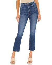 "Mother Kurz geschnittene Jeans ""The Hustler"" mit Fransendetails am Saum - Blau"