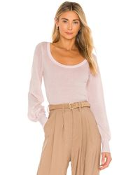 Autumn Cashmere Rib Scoop With Sheer Bishop Sleeves Top - Pink