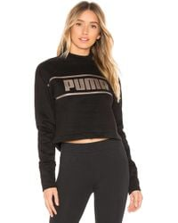 PUMA - Cropped Mock Neck Pullover In Black - Lyst