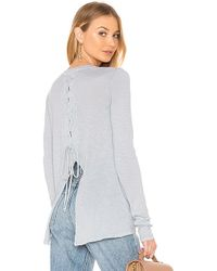 Stateside - Lace Up Crew Neck Tee In Sage - Lyst