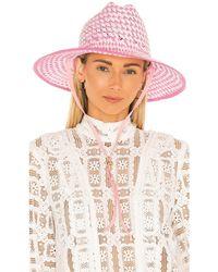 Lele Sadoughi Шляпа Straw Checkered В Цвете Румянец - Розовый