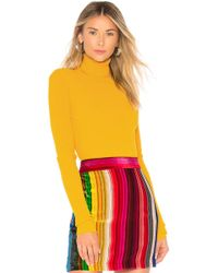 MILLY Rib Turtleneck Pullover - Yellow
