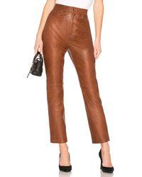 LPA Leather Straight Leg Pants - Braun