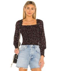 1.STATE Ditsy Refresh Blouse - Black