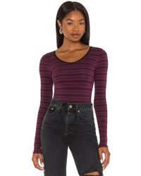 Yummie Long Sleeve Cotton Shaping Full Back Bodysuit - Purple