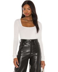 Vince Long Sleeve Square Neck Top - White