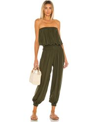 Indah Seychelle Solid Strapless Pleated Jumpsuit - Green