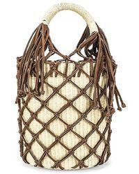 Sensi Studio Leather Macrame Bucket Bag - Brown