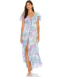 Tiare Hawaii Макси Платье New Moon В Цвете Blue Teal Violet Smoke - Синий