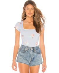 Free People - Square Eyes Bodysuit In Baby Blue - Lyst