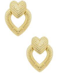 Shashi Heart Knocker Earrings - Mettallic