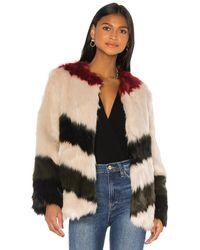 FRAME Stripe Faux Fur Jacket - Multicolour