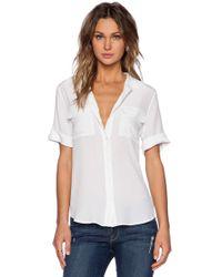 Equipment Slim Signature Short Sleeve Blouse - Weiß