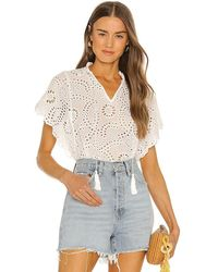 Young Fabulous & Broke Issey Eyelet Top - White