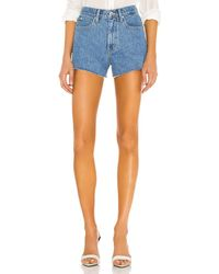 SLVRLAKE Denim Farrah Mid Rise Cut Off Short - Blue