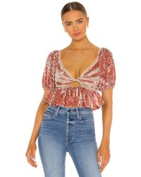 Free People Yours Truly Velvet Top - Lila