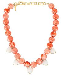 Lele Sadoughi Heart Charm Country Club Necklace - Pink