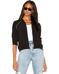 Monrow - Cropped Bomber In Black - Lyst