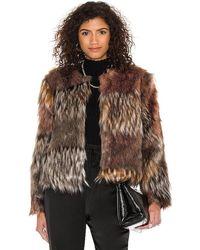 BB Dakota Patch My Drift Faux Fur Jacket - Brown