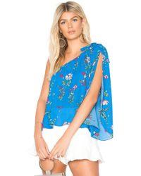 Jack BB Dakota Elise Super Bloom Printed One Shoulder Top (azure Blue) Clothing