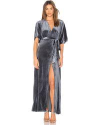 Wyldr Dreamer Velvet Wrap Dress - Blue
