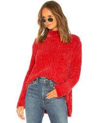 525 America - Bouncy Chenille Mock Neck In Red - Lyst