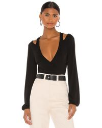 h:ours Cut Out Nikkie Top - Black