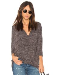 Bobi - Heather Knotted Sweater In Grey - Lyst