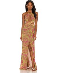 Luli Fama Halter Cut Out Dress - Multicolour