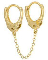 ADINAS JEWELS Handcuff Chain Huggie Earring - Mettallic