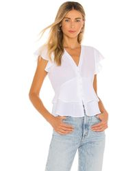 1.STATE Flutter Sleeve Button Front Blouse - White