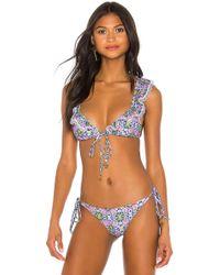Luli Fama - Lace Trim Frilly Bikini Top - Lyst