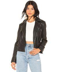 AllSaints - Cargo Leather Biker Jacket In Black - Lyst