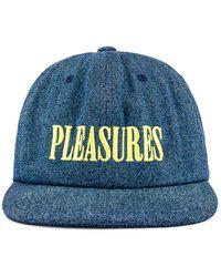 Pleasures Core Logo Denim Snapback. - Blau