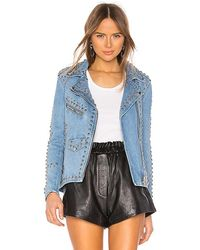 Urban Outfitters Studded Western Moto Jacket - Blue