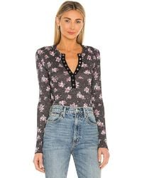Free People One Of The Girls Printed Henley - Black