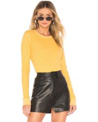 Monrow - Long Sleeve Thermal Tee In Yellow - Lyst