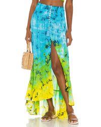 Tiare Hawaii Юбка Dakota В Цвете Turquoise Yellow Smoke Gradasi - Синий