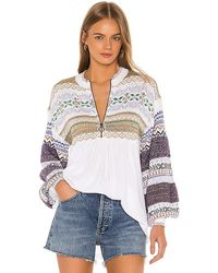 Free People Cabin Fever Mix Media Sleeve Cotton Blend Knit Jumper - White