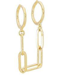 ADINAS JEWELS Oval Link Chain Huggie Earring - Metallic