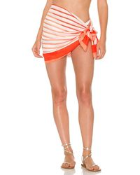 Solid & Striped Парео В Цвете Cantaloupe & Candy Red - Красный