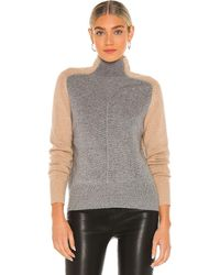 Autumn Cashmere Colour Block Moto Funnel Jumper - Grey