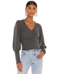 FRAME Crop Shirred Sweater - Grau